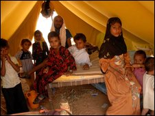 A family displaced by the fighting in north Yemen
