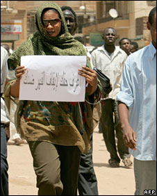 Lubna Hussein leaves court in Khartoum after the final hearing, 7 Sept