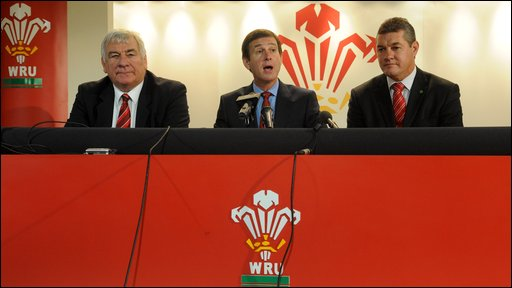 Regional Rugby Wales chief executive Stuart Gallacher, Welsh Rugby Union chief executive Roger Lewis and WRU chairman David Pickering