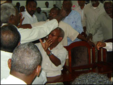 Somaliland MPs brawling in parliament, Tuesday 8 September 2009