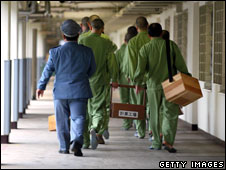 Prisoners walk toward their cells in the Fuchu prison (archive image)