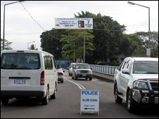 Traffic in Samoa's capital, Apia, driving on the left - 7 September 2009 