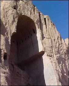Hole where a Bamiyan giant Buddha once stood