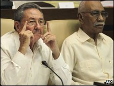 Cuban President Raul Castro, left, and Vice President Juan Almeida Bosque attend a session of the National Assembly of Popular Power in Havana, on 1 August 2009