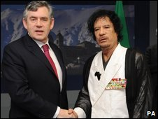Gordon Brown and Colonel Muammar Gaddafi