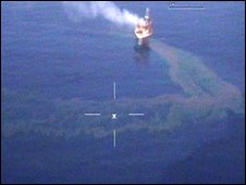 A handout photo from the Australian Maritime Safety Authority showing the oil leak