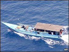 A boat with suspected asylum seekers off Australia's north-west coast. Photo: 15 September 2009