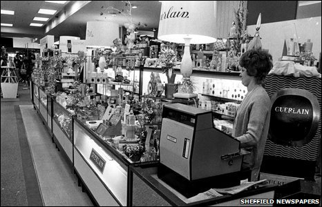 Perfume counter at Walsh's, Sheffield, 1972