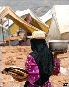 Displaced Yemeni woman in a camp in Hajja region (15 September 2009)