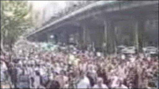 Protestors in Tehram