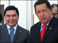 President Kurbanguly Berdymukhamedov (L) with Venezuela's President Hugo Chavez in Ashgabad - 7 September 2009