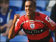 Jay Simpson celebrates his second first-half goal at Cardiff