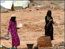 Displaced women at a camp in Yemen's Hajja region, 15 Septmeber 2009
