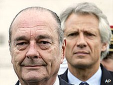President Jacques Chirac and Prime Minister Dominique de Villepin (file image)