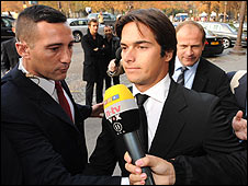 Nelson Piquet arrives at Monday's hearing in Paris