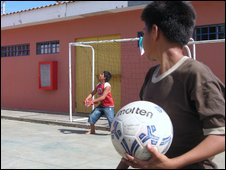 Boys playing in Managua