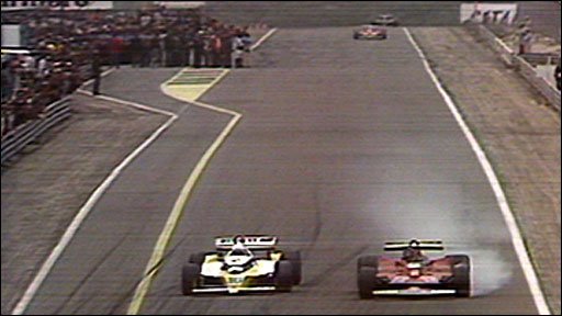 Rene Arnoux and Gilles Villeneuve do battle