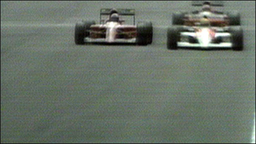 Alain Prost gets past Ayrton Senna