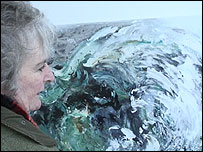 Maggi Hambling with a North Sea painting