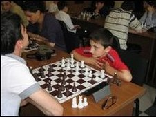 young Armenians playing chess