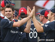 James Anderson celebrates one of two early wickets