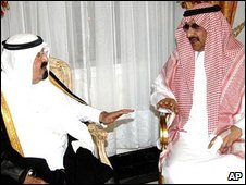King Abdullah of Saudi Arabia (l) and Prince Mohammed bin Nayef, 28 August 2009