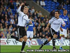 Rob Hulse celebrates getting Derby back into the game at 2-1