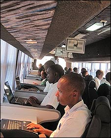 Inside one of Rwanda's IT buses