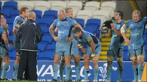 Cardiff Blues players looked dejected