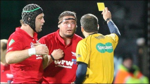 Scarlets prop Rhys Thomas receives a yellow card