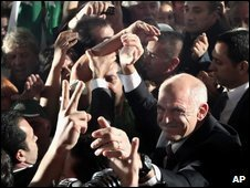 Greek Socialist leader George Papandreou celebrates victory on 4 October 2009
