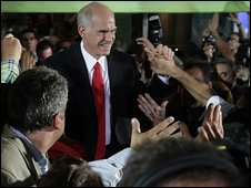 George Papandreou celebrates victory 4.10.09