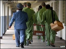 Prisoners in Fuchu prison, Tokyo, return to their cells - 27 May 2003