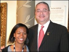 BBC Radio Berkshire's Louise Chandler with the Prime Minister of Barbados