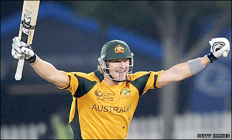 Shane Watson celebrates the winning runs