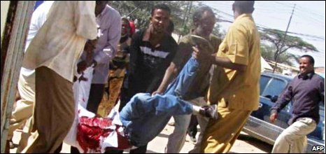 An injured man at an opposition rally in Hargeisa, 12/09