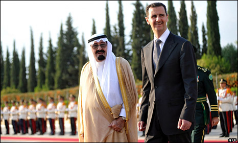 King Abdullah and Bashar al-Assad in Damascus (7 October 2009)
