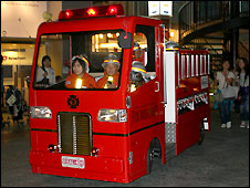 "A ""fire crew"" races to respond to an emergency at Kidzania Tokyo"