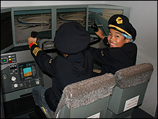 Pilots in training at Kidzania