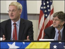 Swedish Foreign Minister Carl Bildt, left, and US Deputy Secretary of State Jim Steinberg, 9 October 2009