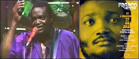 Left: Franco performing Mario, a screen grab from YouTube Right: Franco Et L�Orchestre TP OK Jazz � Editions Populaires, African label 1974 - LP cover