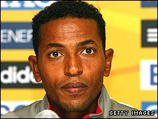Zersenay Tadese speaks to the media in Birmingham before Sunday's race