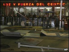 Police outside the firm's Mexico City offices