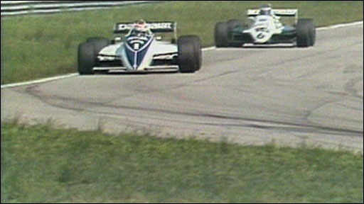 Nelson Piquet and Keke Rosberg do battle