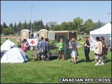 Simulated refugee camp in Alberta