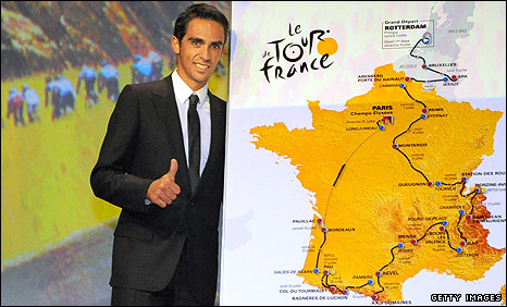 Alberto Contador with the 2010 route