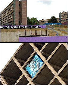 Art at Park Hill by Kid Acne (top) and Gary Hindley (bottom)