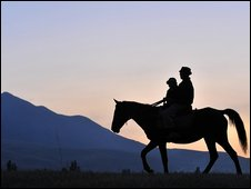 A Kyrgyz horse rider near the capital, Bishkek