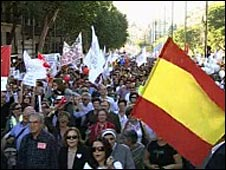 Screen grab of demonstrators in Madrid, Spain, 17 October 2009