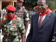 Capt Moussa Dadis Camara (Left) and Burkina Faso's President Blaise Compaore